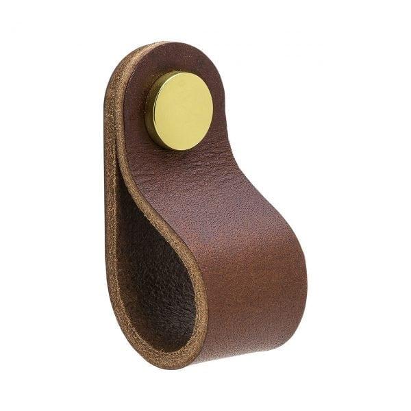 Loop Round - läder brun / mässing
