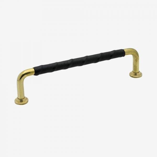Handtag 1353 - polerad mässing / läderlindat svart