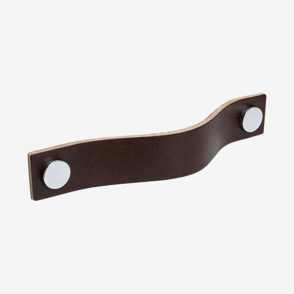 Handtag Loop - läder brun / polerad krom