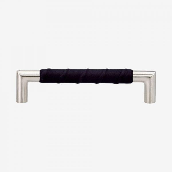 Handtag Norma 12 - rostfritt / läderlindat svart