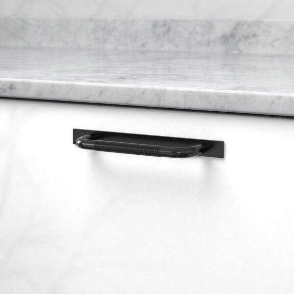 Handtag helix med bricka matt svart 309080 11 cc 128 mm ncs s 0300 n marmor carrara