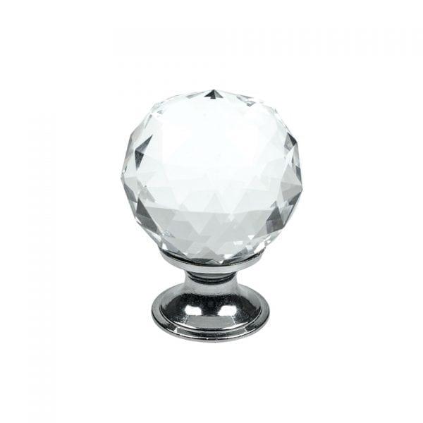 Knopp Diamond - glas / krom