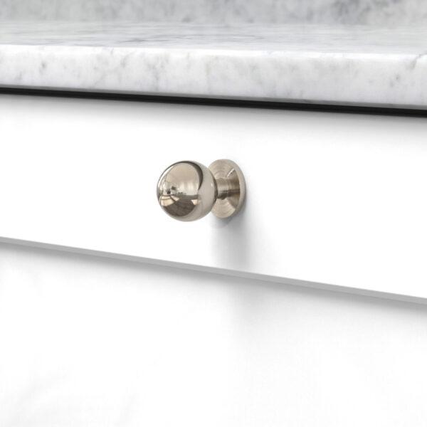 Knopp soliden förnicklad 339430 11 25 mm ncs s 0300 n marmor carrara