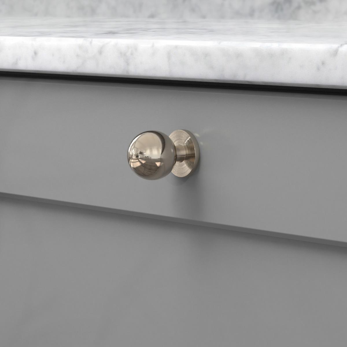 Knopp soliden förnicklad 339430 11 25 mm ncs s 4500 n marmor carrara