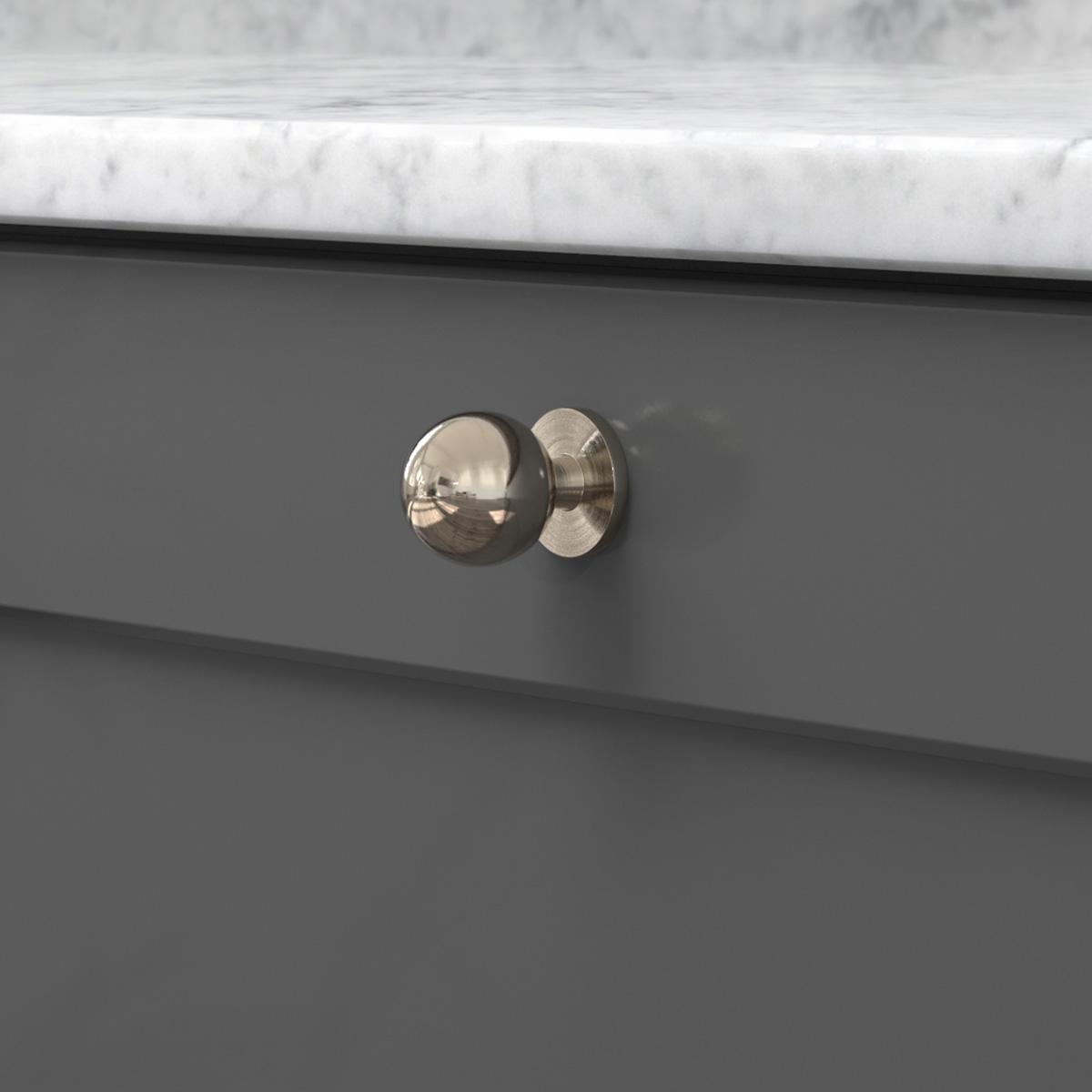 Knopp soliden förnicklad 339430 11 25 mm ncs s 7500 n marmor carrara