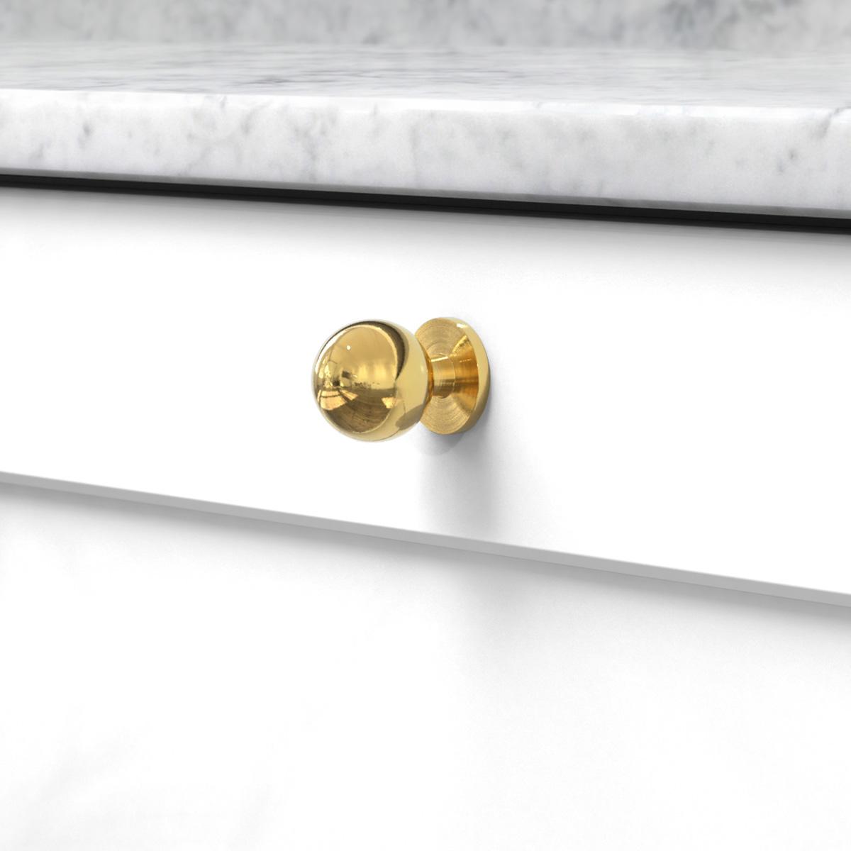 Knopp soliden polerad massing 339431 11 25 mm ncs s 0300 n marmor carrara