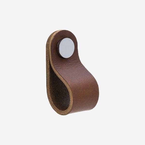 Loop Round - läder brun / polerad krom