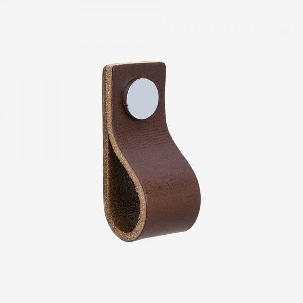 Loop - läder brun / polerad krom