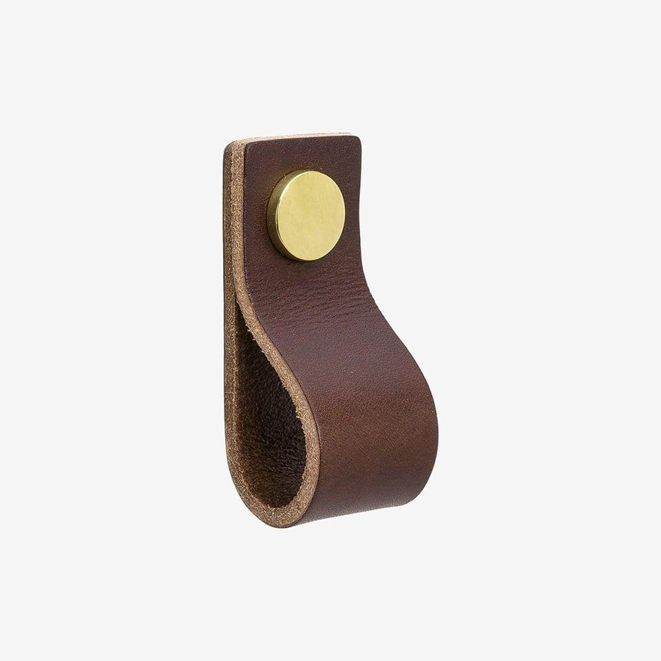 Loop - läder brun / mässing
