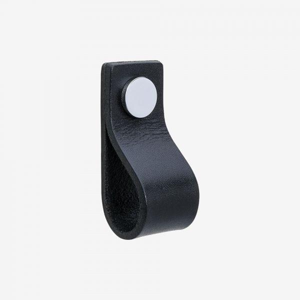 Loop - läder svart / polerad krom