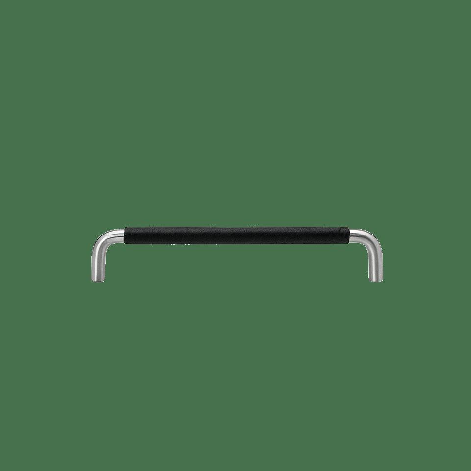 Handtag SS-A rostfritt / lädersvept svart
