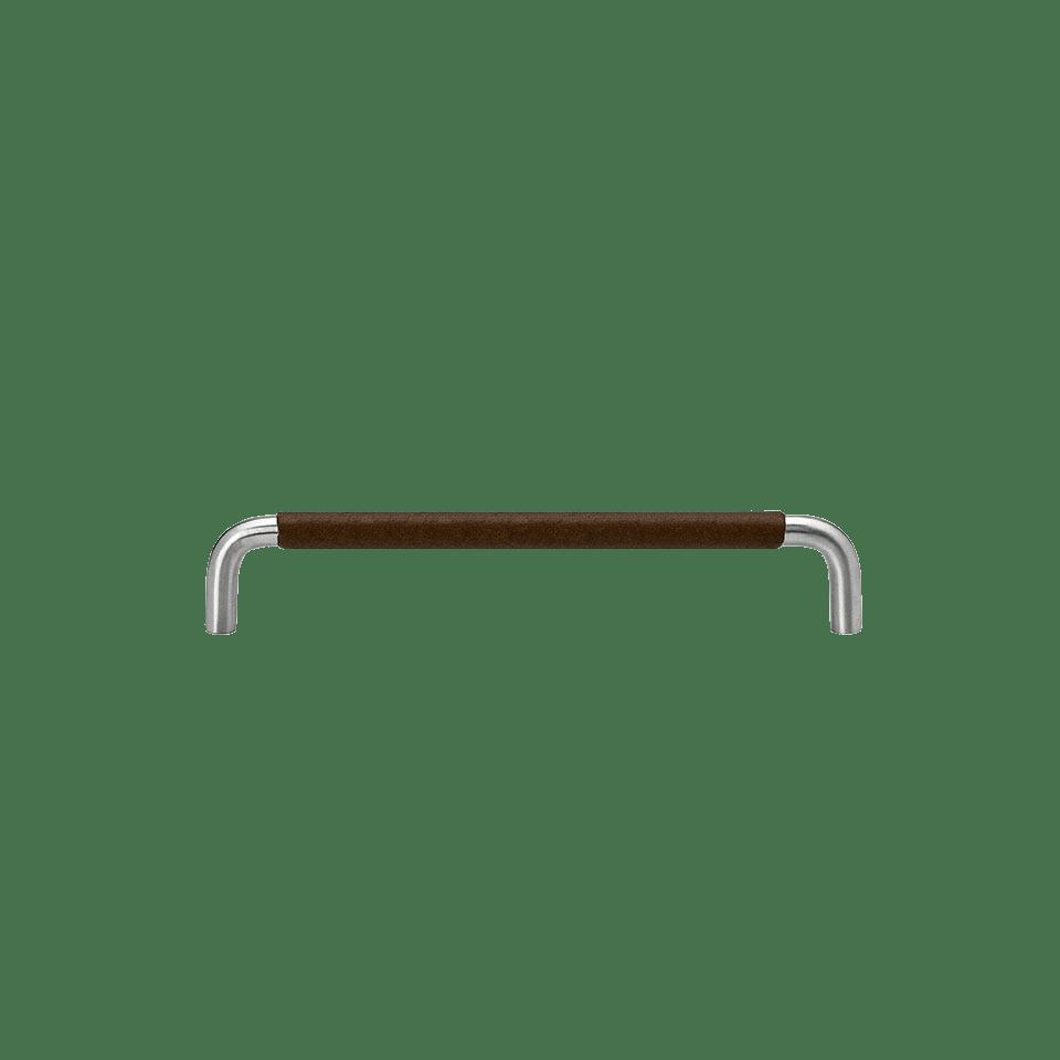 Handtag SS-A rostfritt / lädersvept brun