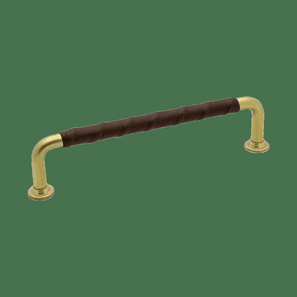 Handtag 1353 - obehandlad mässing / läderlindat brun