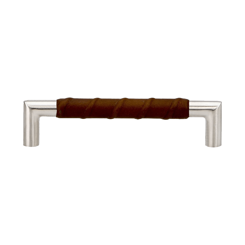 Handtag Norma 12 - rostfritt / läderlindat brun