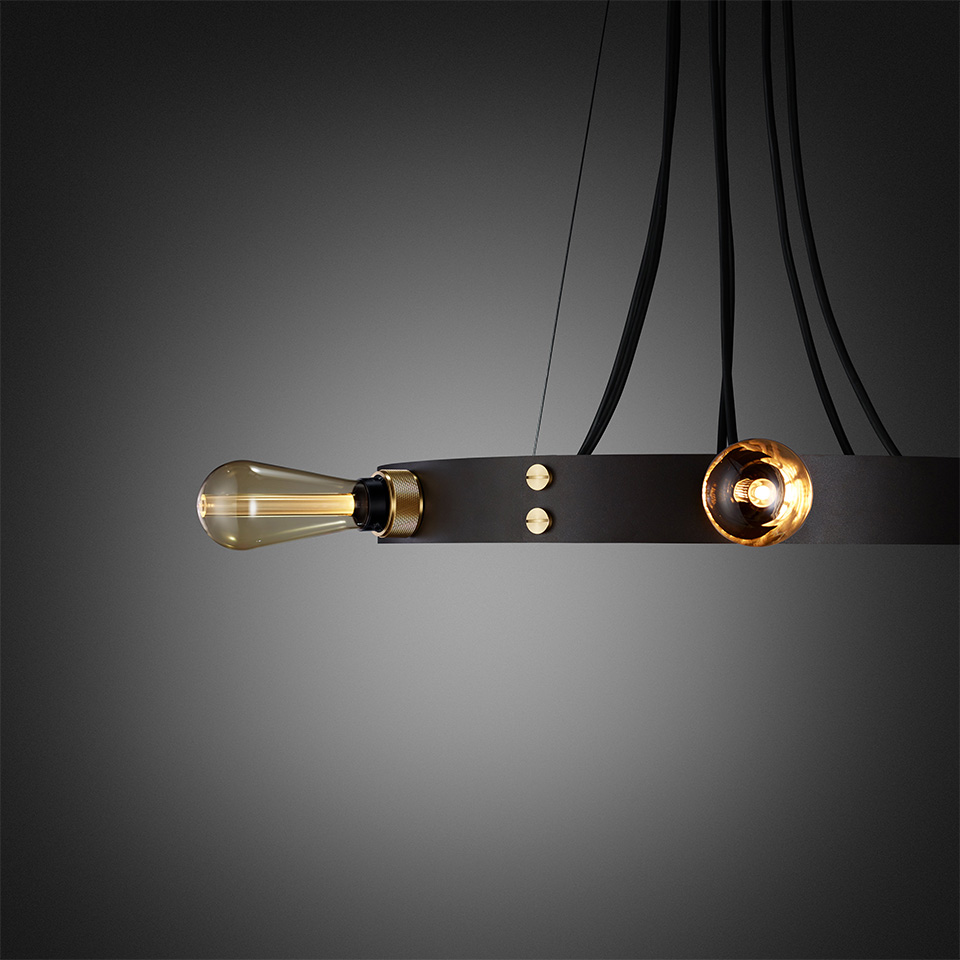 BusterPunch Hero Light Graphite Brass Gold Bulb Detail