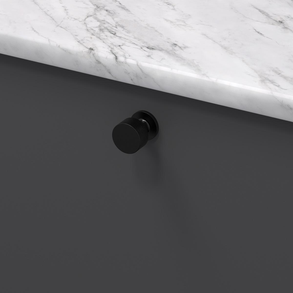 Knopp crest matt svart 309130 11 26 mm ncs s 7500 n marmor carrara