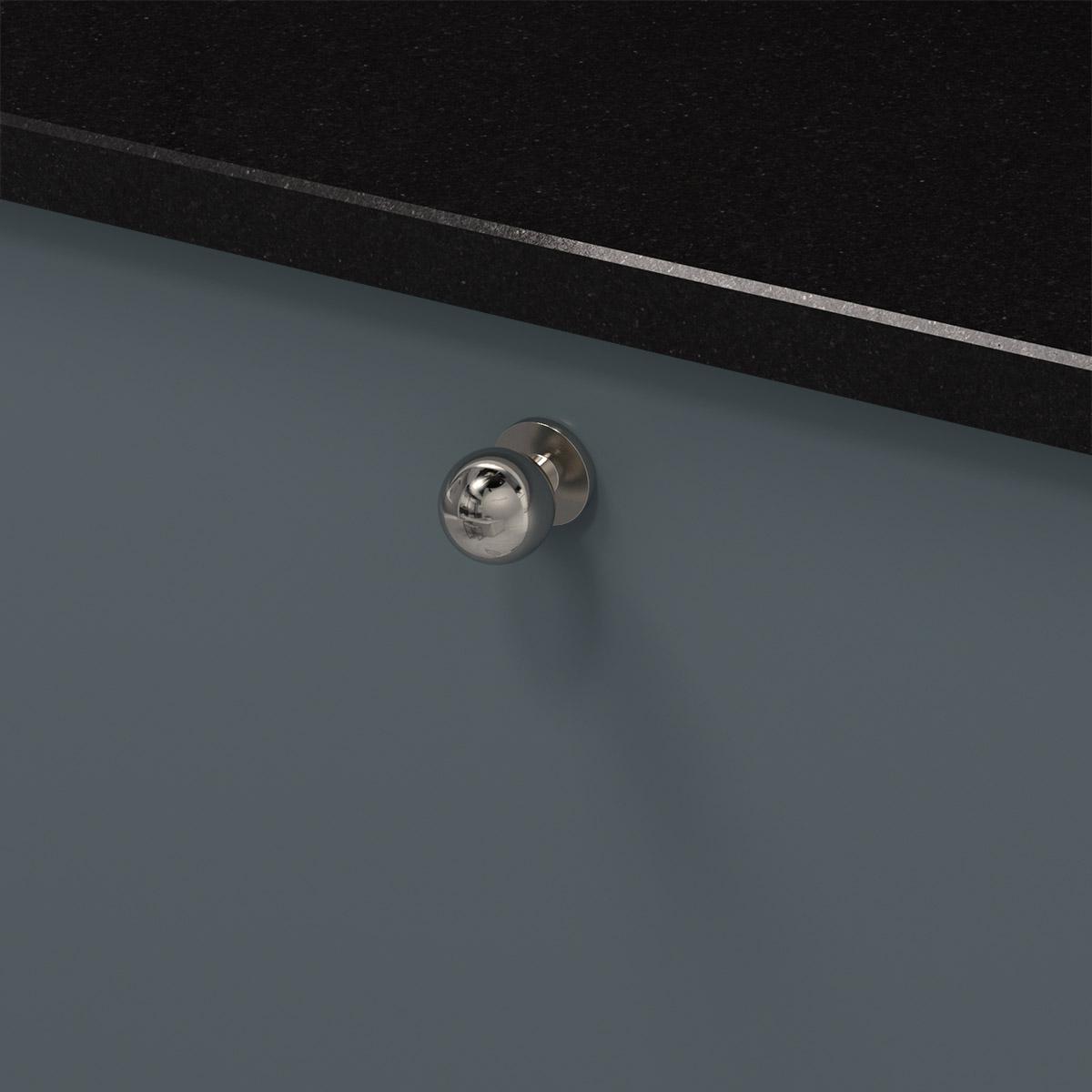 Knopp soliden förnicklad 339430 11 25 mm ncs s 6010 b10g granit svart