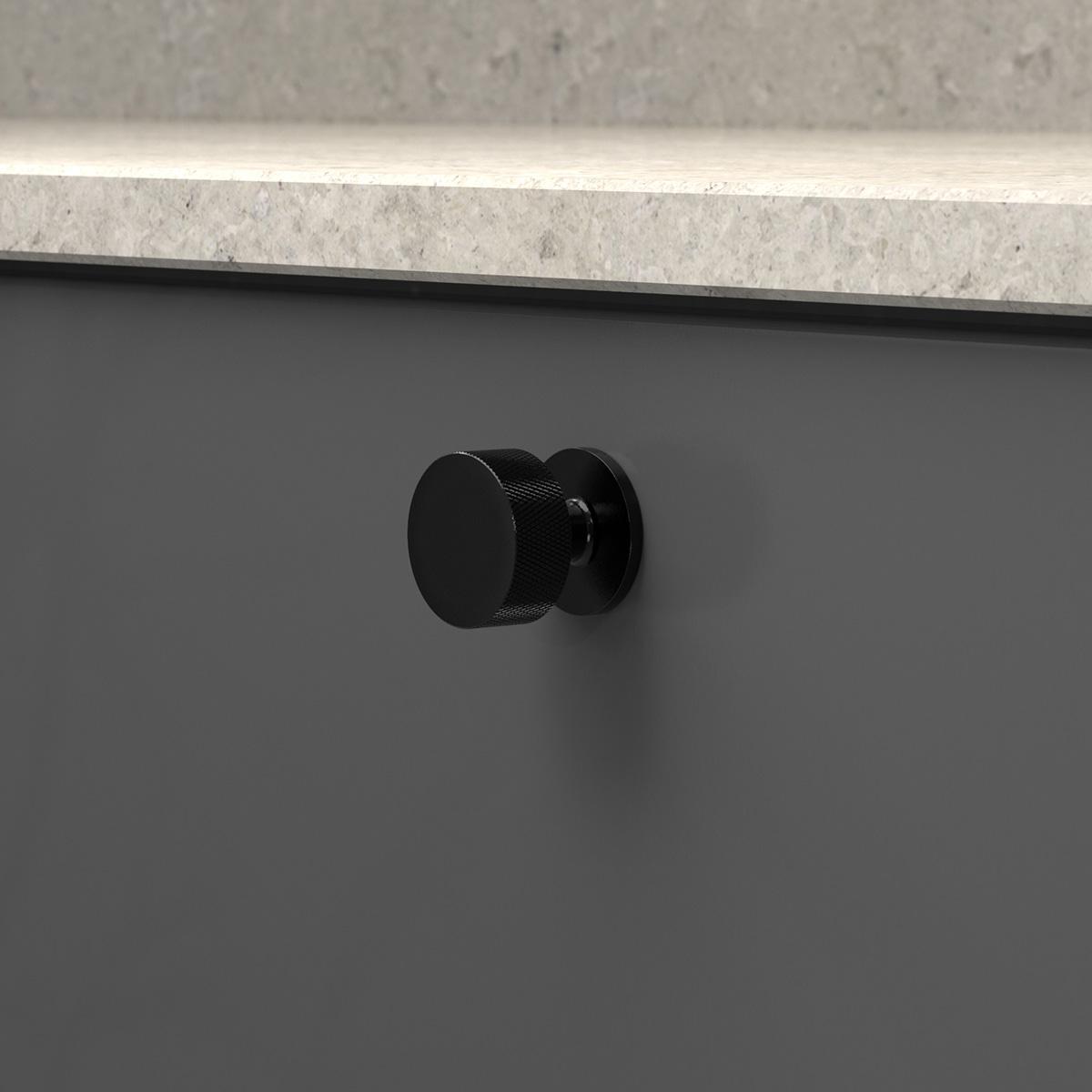 Knopp crest matt svart 309140 11 32 mm ncs s 7500 n kalksten