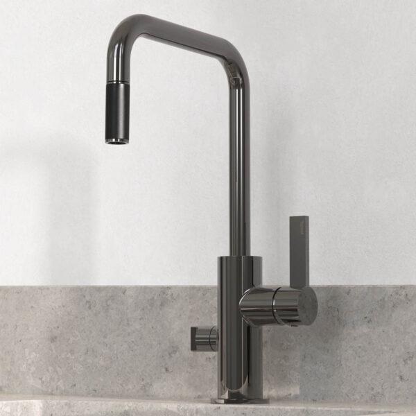 tapwell koksblandare arm887 black chrome 9421258 concrete grey