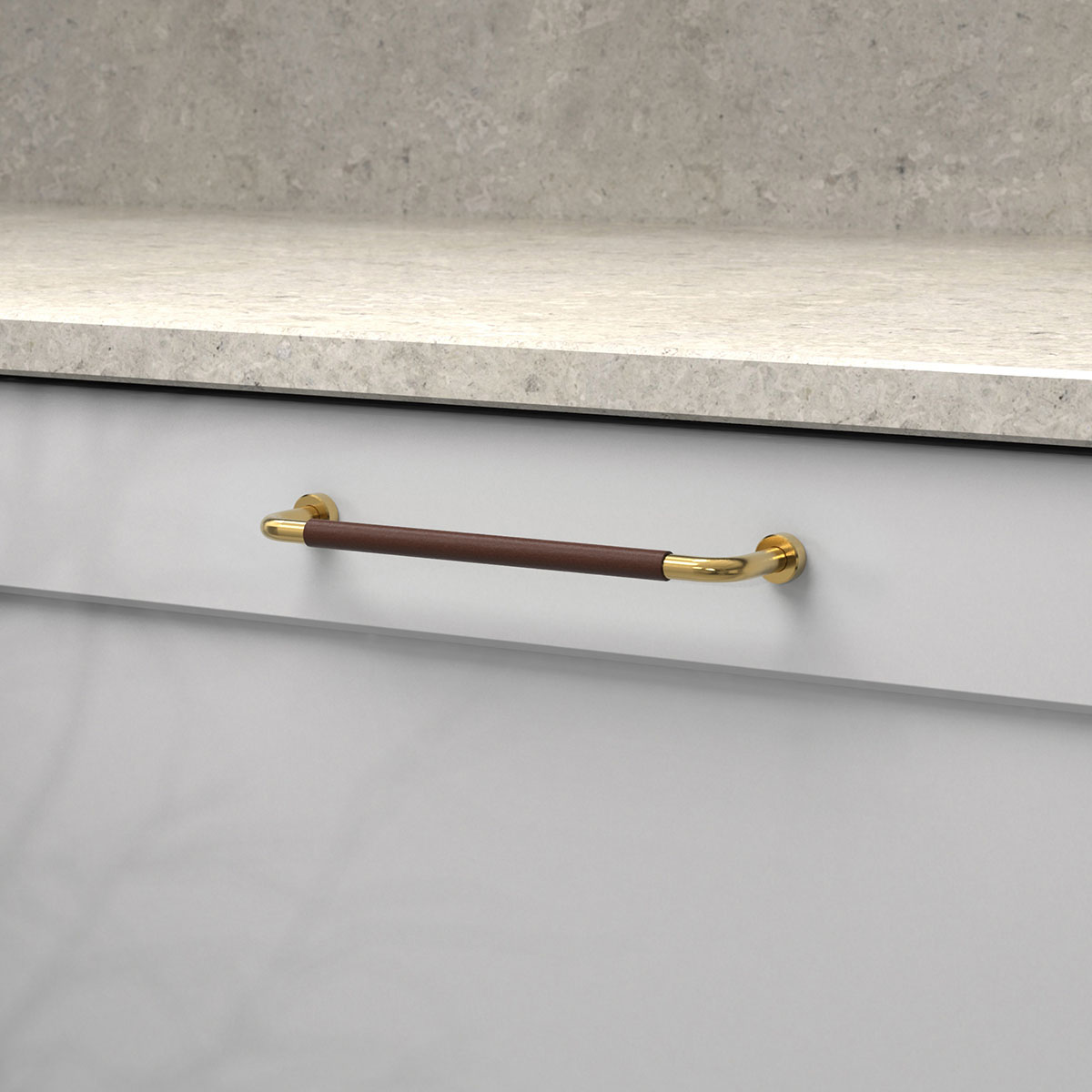 Handtag lounge polerad massing ladersvept brun 370103 11 cc 160 mm ncs s 3000 n kalksten