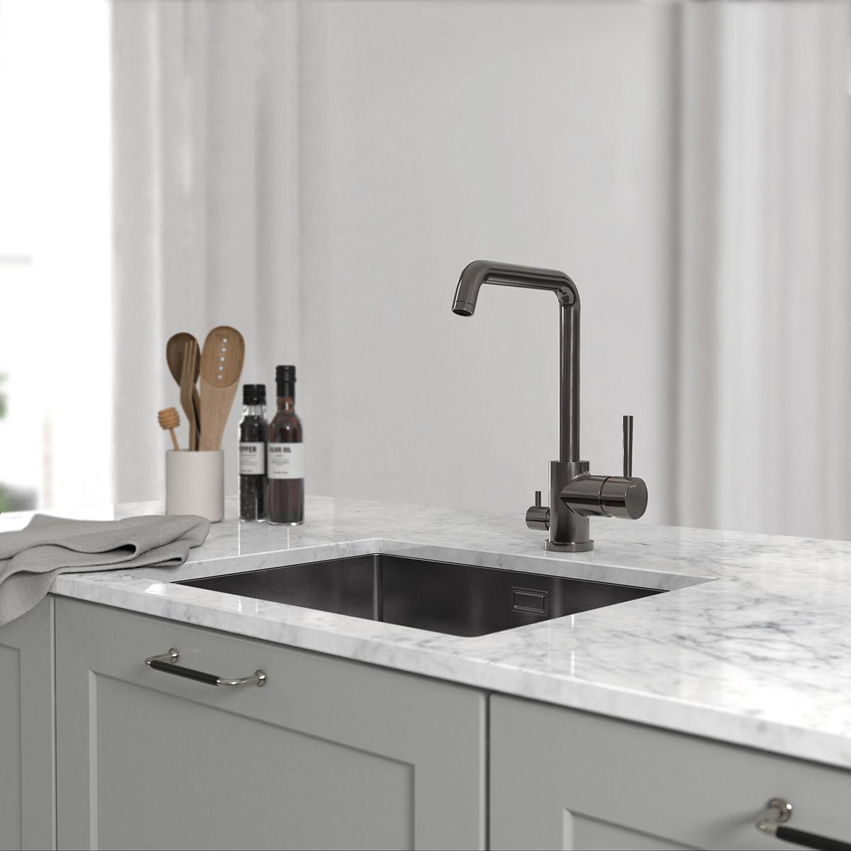 tapwell koksblandare evo984 brushed black chrome 9422586 ncs s 4500 n marmor carrara 3